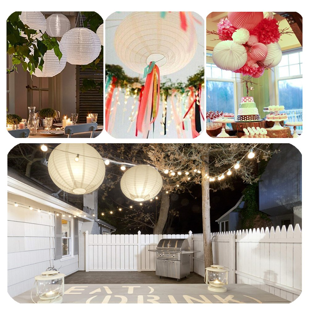 Paper Lanterns Various Sizes 12pcs White Paper Lantern Outdoor and Indoor Decorative Lanterns Great for Wedding Birthday Party Festival Decorations