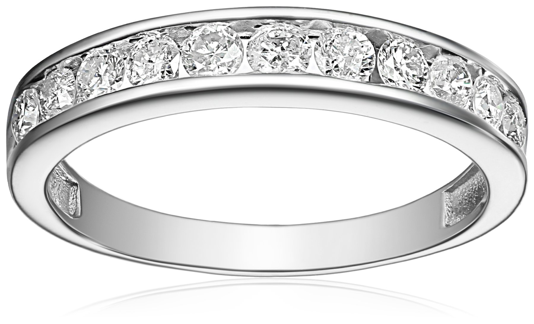 14k White Gold Round Diamond Anniversary Band (1/2 cttw, I-J Color, I2-I3 Clarity), Size 7