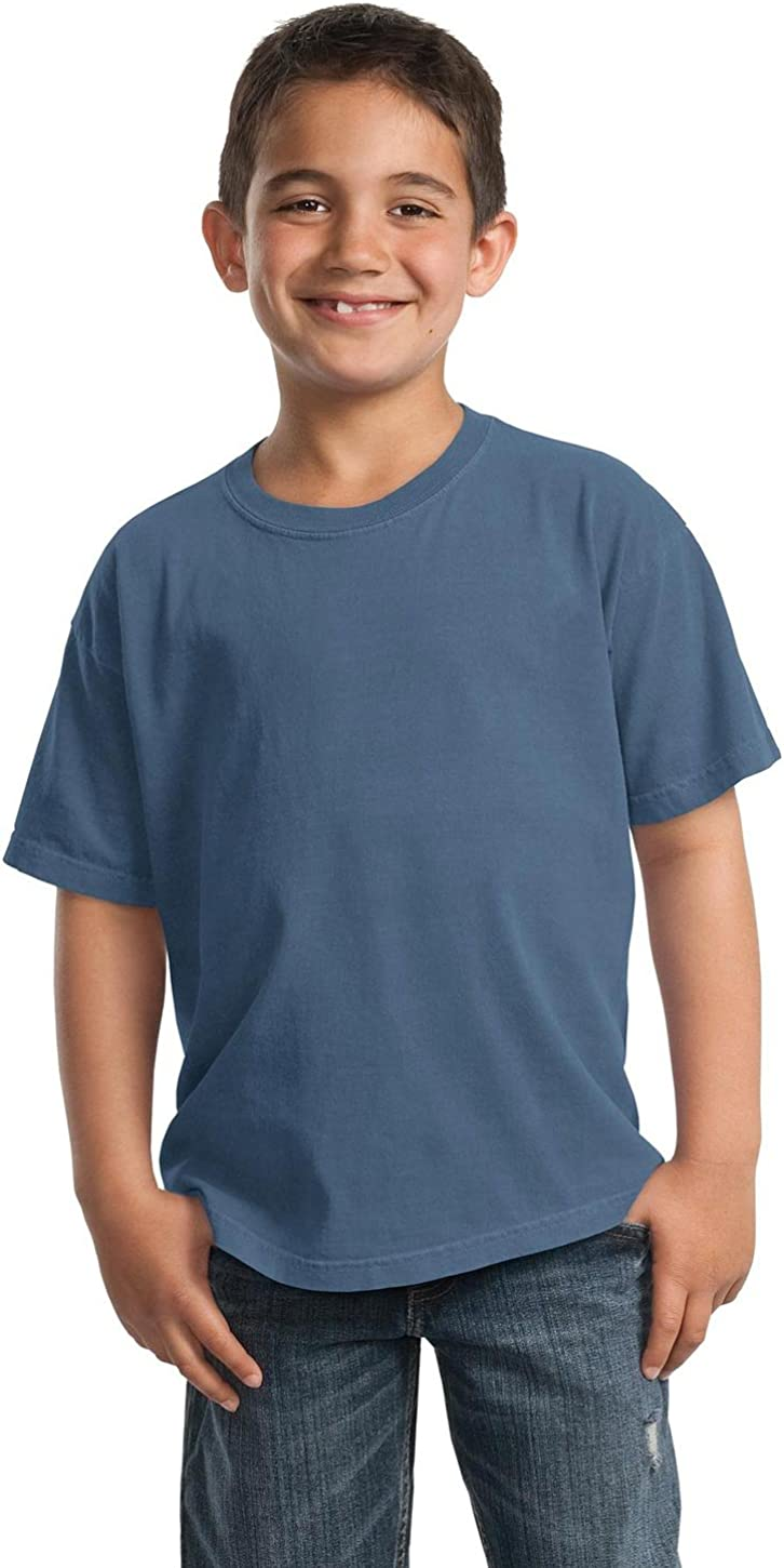 Denim Blue Port /& Company PC099Y Youth Essential Pigment-Dyed Tee M