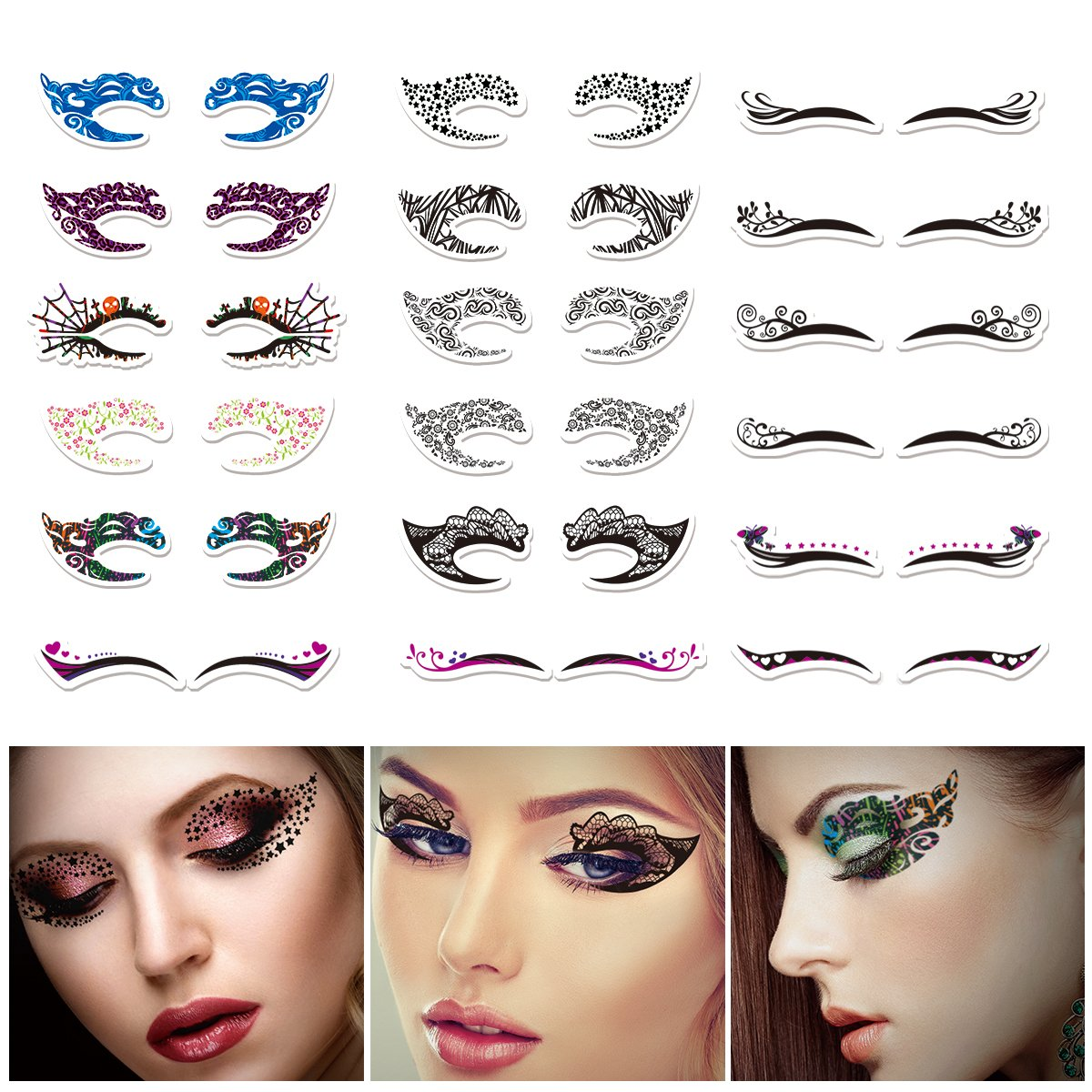 Temporary Eye Tattoo  ETEREAUTY 18 Pairs Eye Tattoo Stickers with Waterproof Eyeshadow and Eyeliner Designs