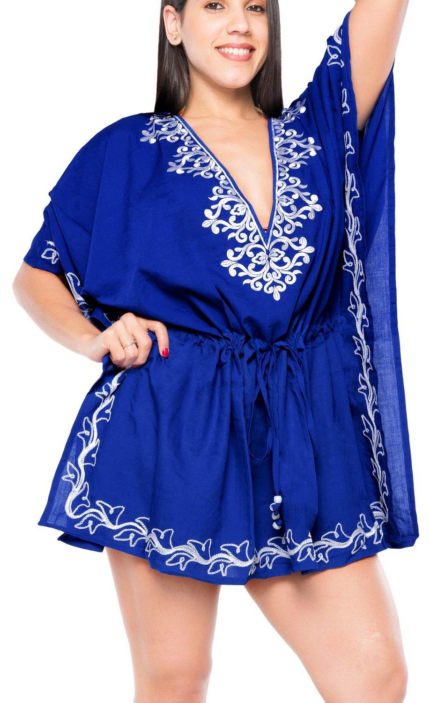 La Leela繊細刺繍レディースレーヨンBeachwear水着水着ビキニカバーアップ B01NB9U6US 6 Long|ブルー