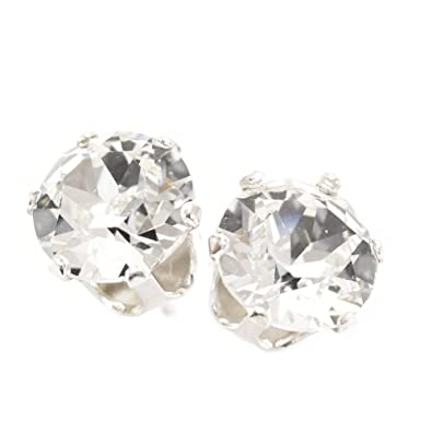 53fb248da 9mm 925 Sterling Silver stud earrings made with Diamond White crystal from  SWAROVSKI®. Gift box.: pewterhooter: Amazon.co.uk: Jewellery