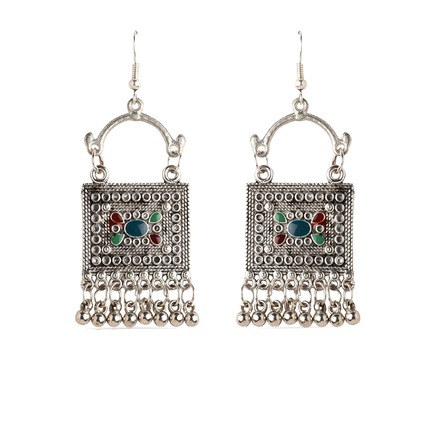484a741f9 Nimmisha Drop Earring Jhumka/Jhumki Classic Designer Fancy Earring Chandbali  Antique Oxidised Silver Square Inlay Flower Tassel Earrings for Womens and  ...