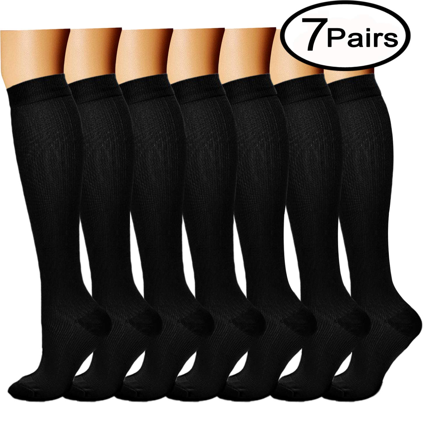 Compression Socks (7 Pairs), 15-20 mmhg is BEST Graduated Athletic & Medical for Men & Women, Running, Travel, Nurses, Pregnant - Boost Performance, Blood Circulation & Recovery (Large/X-Large, Black)