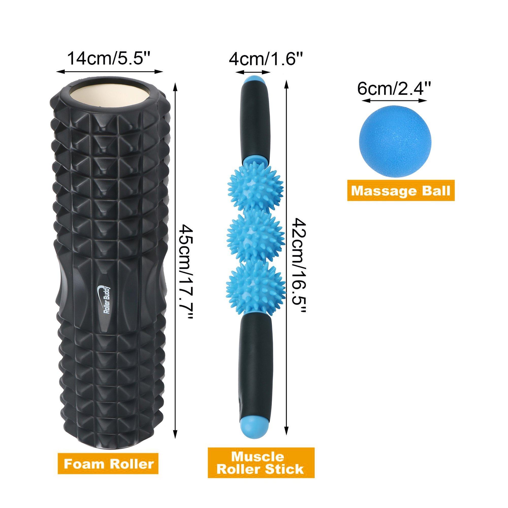 Muscle Massage Foam Roller Kit Back Massager Roller - 4 in 1 Best Trigger Point Massage Tool Lacrosse Roller Ball Massager Stick by Roller Buddy (Image #2)