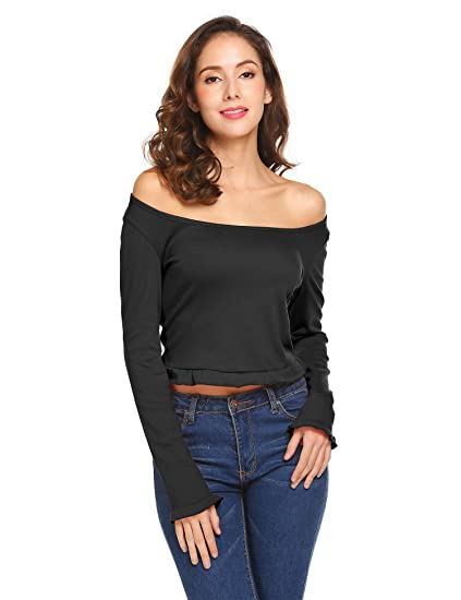 b568ef2d630 Grabsa Women's Basic Long Sleeve Fitted Off Shoulder Sexy Crop Top Black S