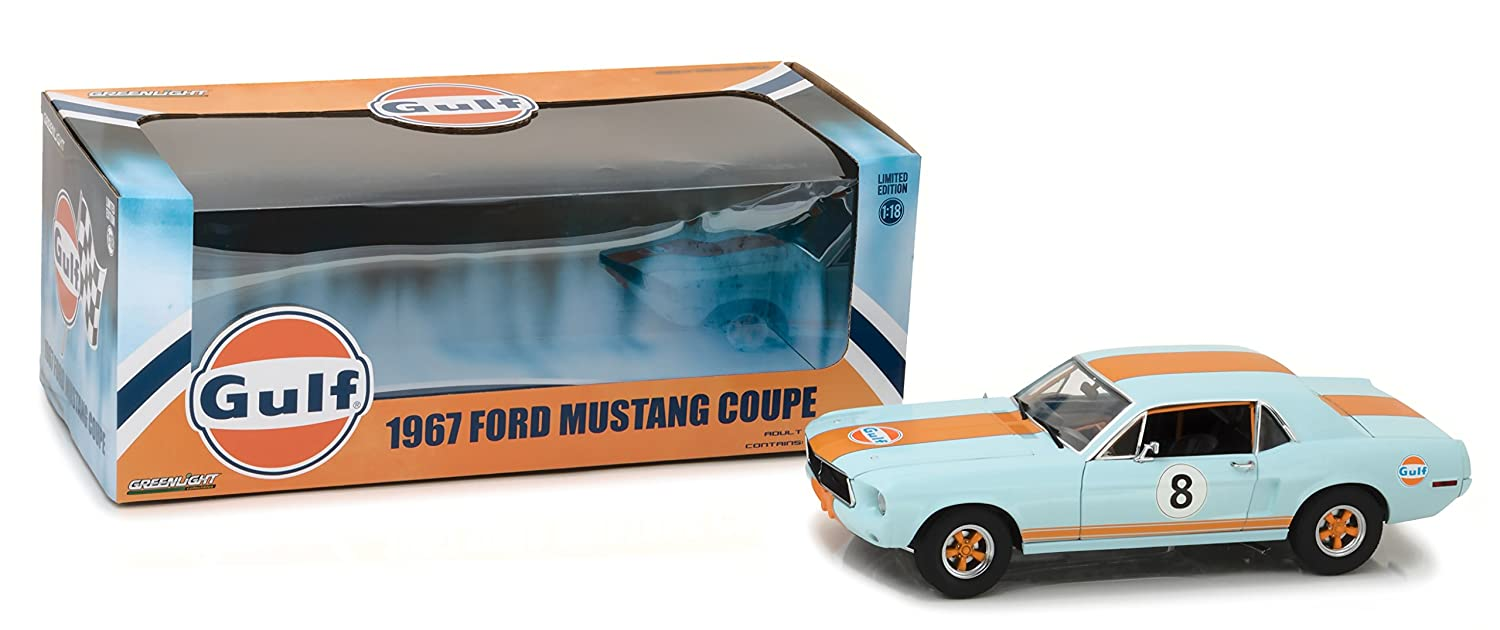 Greenlight 118 Scale 1967 Ford Mustang Coupe Gulf Oil 2000 Speaker Light Blue With Orange Stripes 12989 Die Cast Vehicle Toys Games