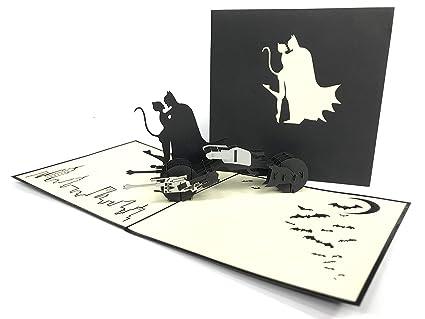 Tarjeta de felicitación 3D de la reunión de Batman y Catwomen de Marvel, cartulinas de papel Kirigami, tarjeta de felicitación de agradecimiento, ...