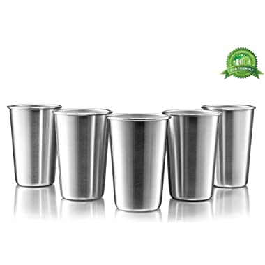 Premium Stainless Steel Cups - 16 Oz Stainless Steel Pint Cup Tumblers - Eco-Friendly, BPA Free (5 Pack)