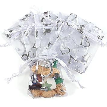100 piezas bolsitas de Organza bolsa de regalo bolsas de dulces para boda fiesta de Navidad regalos decoración, Silver(Love Heart), 15cm x10cm
