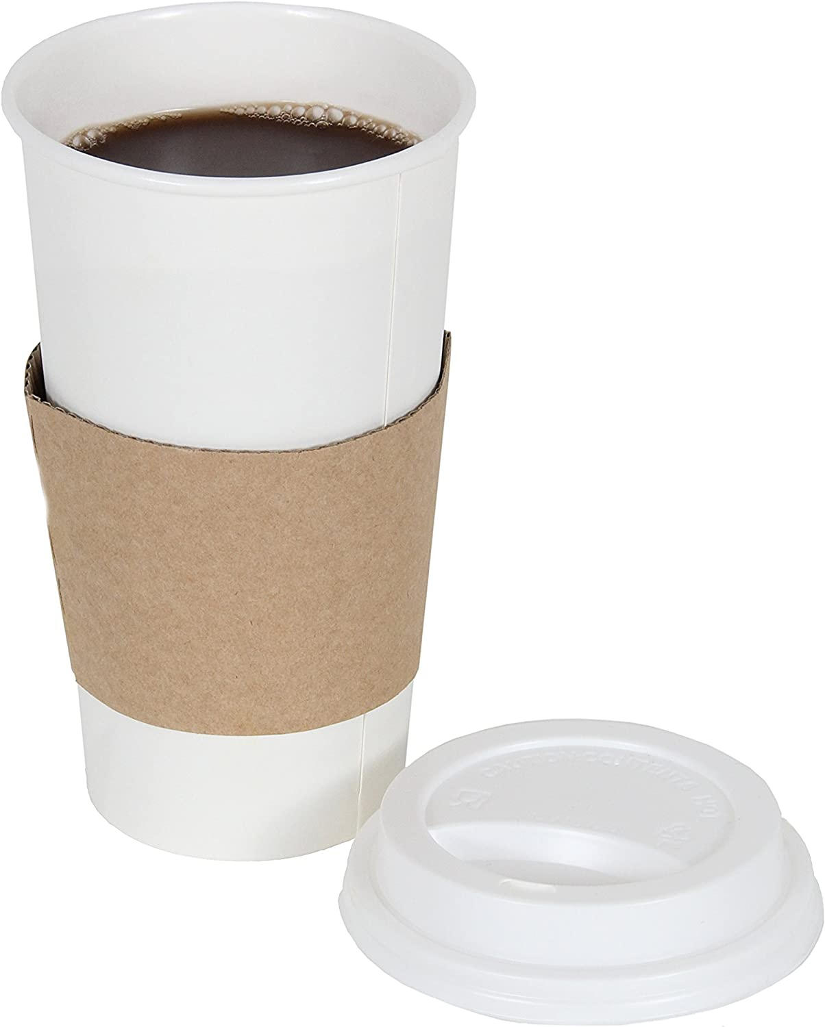 CucinaPrime 20oz White Disposable To-Go Paper Coffee/Hot Beverage Cups with White Lids and Sleeves- 50 Pack
