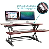 Halter ED-259 Preassembled Height Adjustable Desk Sit / Stand Elevating Desktop with 2 Power Outlets and 2 USB Charging Ports
