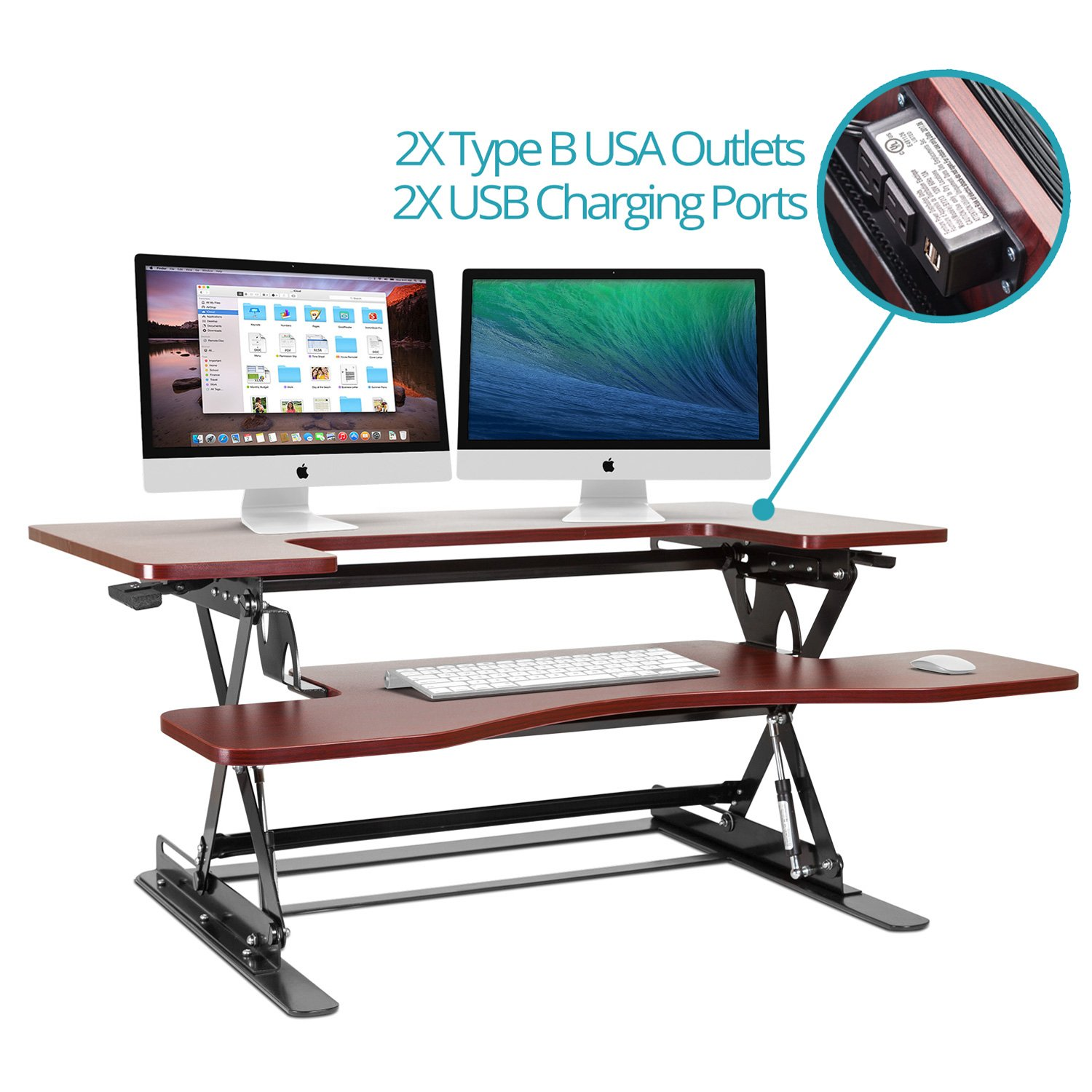 Halter ED-259 Preassembled Height Adjustable Desk Sit / Stand Elevating Desktop with 2 Power Outlets and 2 USB Charging Ports by Halter (Image #1)