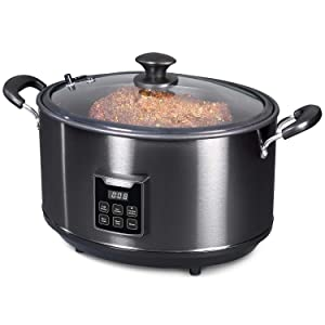 Presto 06013 Electric Slow Cooker Indoor Smoker 6qt Black Stainless Steel