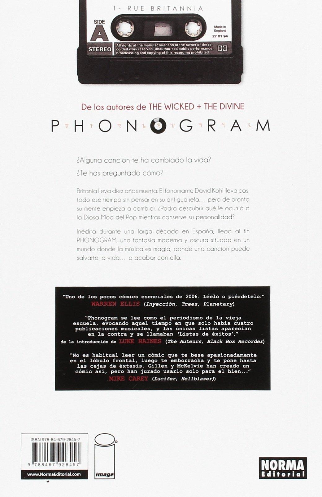 Phonogram 1. Rue Britannia: Kamie / Gillen, Kieron / Wilson, Matthew McKelvie: 9788467928457: Amazon.com: Books