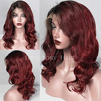 3369229d2f6 Lovestory Ombre Color Black Red Human Hair Bob Wigs Lace Front Human Hair  Wigs With Baby