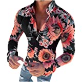 Men's Casual Button Shirt Turn-Down Collar Slim Fit Sunflower Printing Long Sleeve Work Top