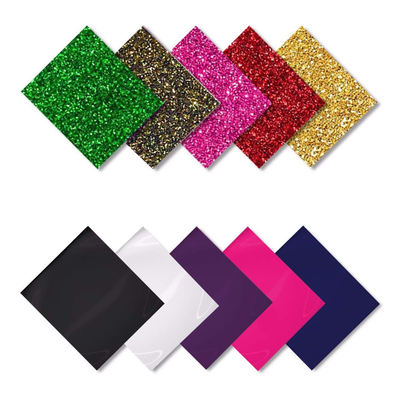 MiPremium PU Heat Transfer Vinyl, Iron On Vinyl Starter Pack, Assorted Bundle Kit of Heat Press Vinyl in 10 Most Popular of Glitter & Plain Colors, Easy Weed, Cut & Press (10 x Pack) VNL-COMBO10