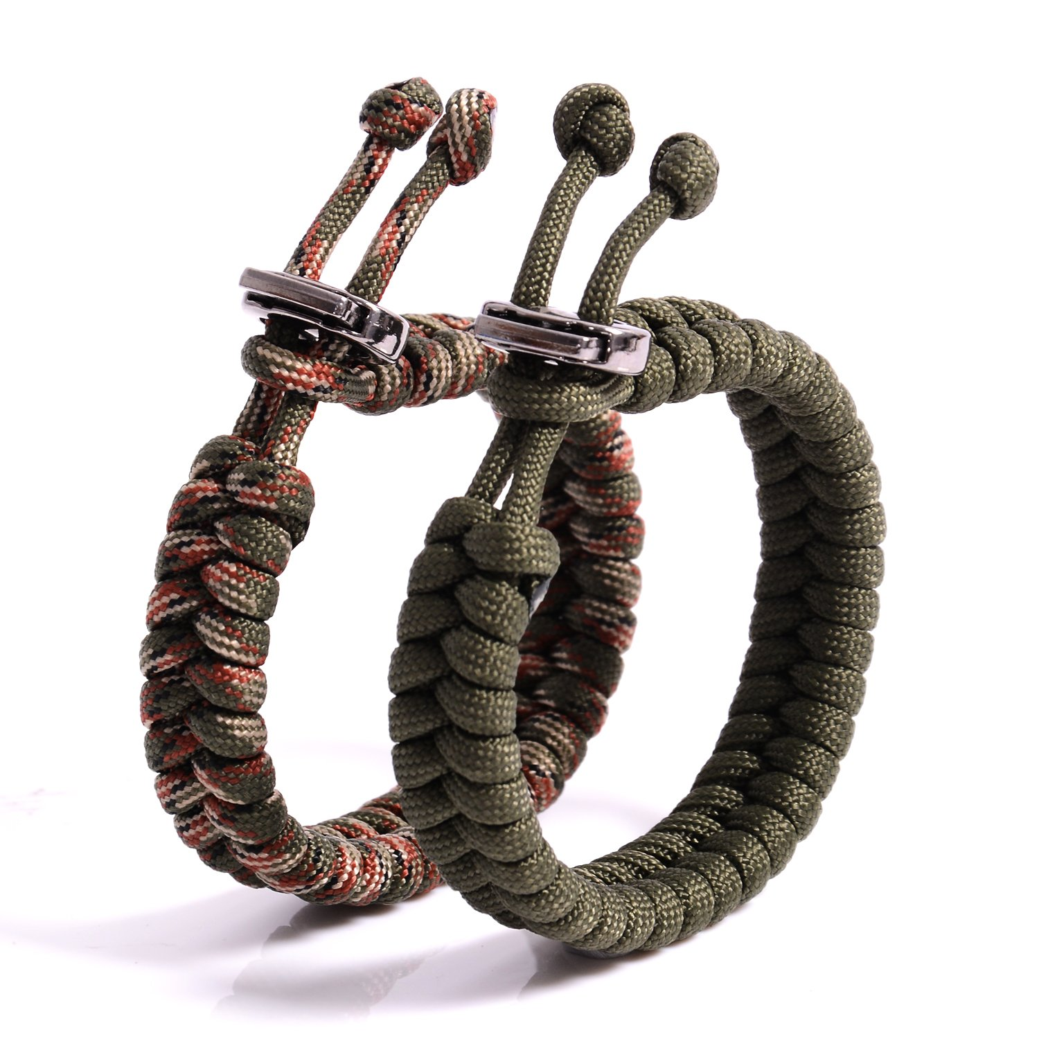 """The Friendly Swede Fish Tail Paracord Survival Bracelets with Metal Clasp Adjustable Size Fits 7"""" 8.5"""" 18 22 cm Wrists 2 Pack"""