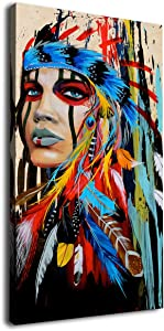 "Canvas Wall Art Native American Indian Beauty Painting - Long Canvas Artwork Girl with Colorful Feathers Ethnologic Accessories Contemporary Picture for Home Office Wall Decor 40"" x 20"""