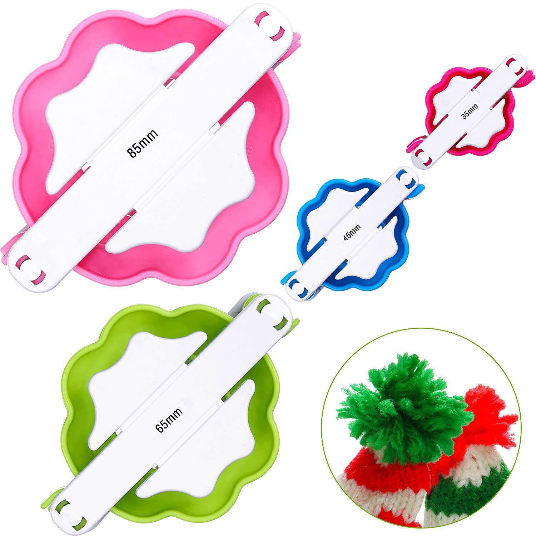 4 Diverse Dimensioni Creatore di Pom Pom Ago Tessitore Palla Soffice Maglieria Artigianale in Lana Fai-da-Te Kit di Strumenti per Artigianato Fai da Te 4 Pezzi Pom Pom Maker