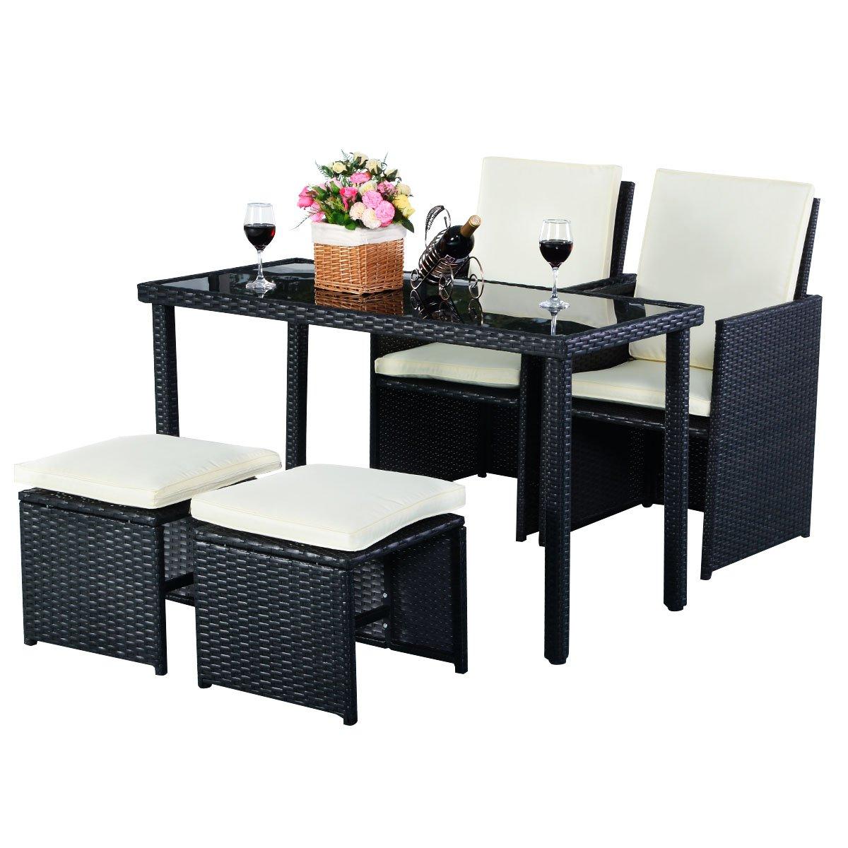 5tlg Gartenmöbel Polyrattan Lounge Set Esstisch Set Rattanmöbel ...