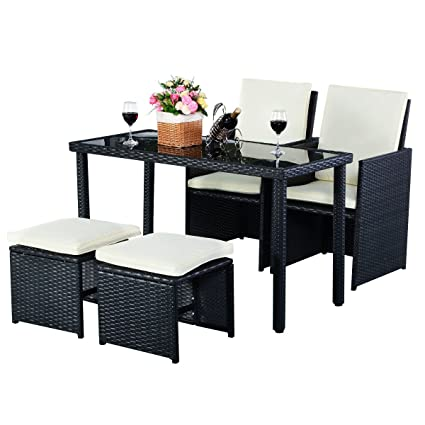 Tangkula Patio Furniture Outdoor Wicker Rattan Dining Set Cushioned Seat Garden Sectional Conversation Sofa With Glass Top Coffee Table 5pcs Black