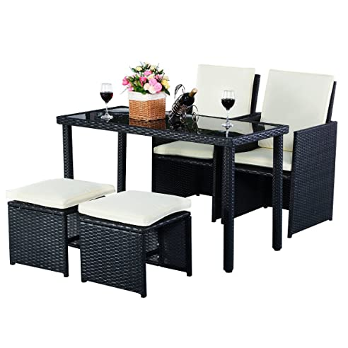 Amazon.de: 5tlg Gartenmöbel Polyrattan Lounge Set Esstisch Set ...