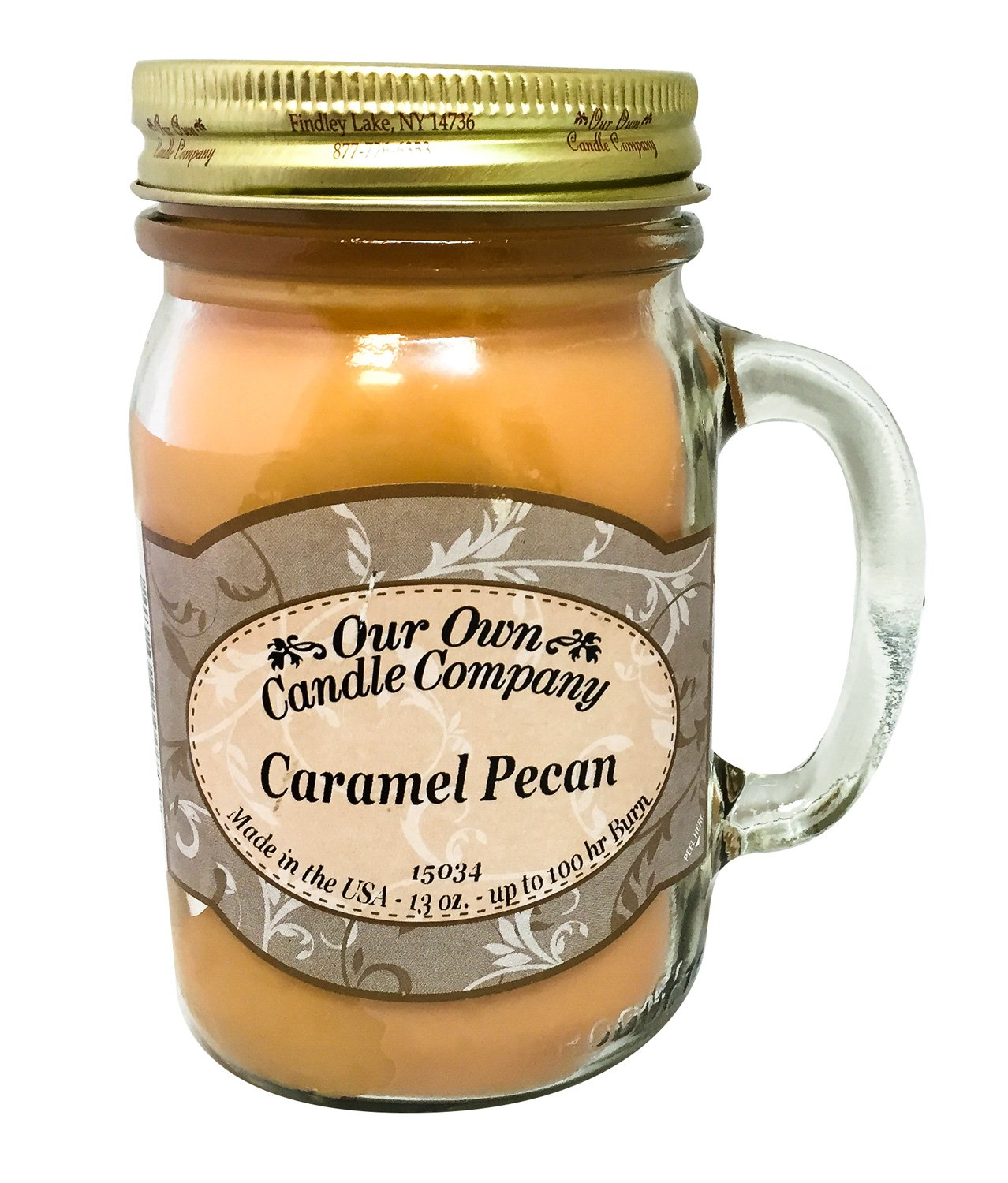 Our Own Candle Company Caramel Pecan Scented 13 Ounce Mason Jar Candle
