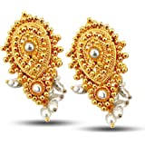 Surat Diamonds Real Freshwater Pearl & Gold Plated Drop Shaped Earring for Women (SE37)