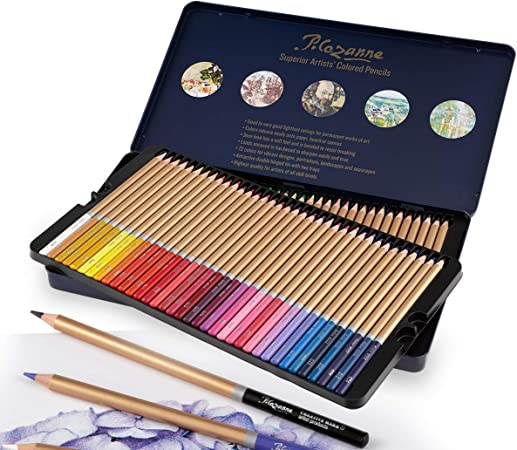 Shading Blending Suitable for Adults and Kids with Metal Box Art Supplies Sketching Layering 72 Colored Pencils Soft Oil-Based Cores Professional Artist Coloring Pencils for Drawing Arts