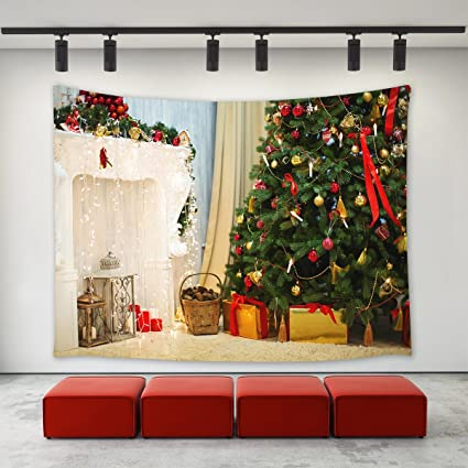 christmas fireplace decor tapestry wall hanging christmas tree with ornaments balls fairy lights gifts presents - Fireplace Christmas Decorations Amazon