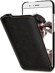 StilGut UltraSlim Case, Custodia Flip Case in Vera Pelle per Huawei Honor 8 PRO, Nero