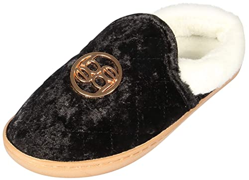 aed56c3ea bebe Girls Crushed Velvet Quilted Slippers with Medallion, Black, 2-3 M US