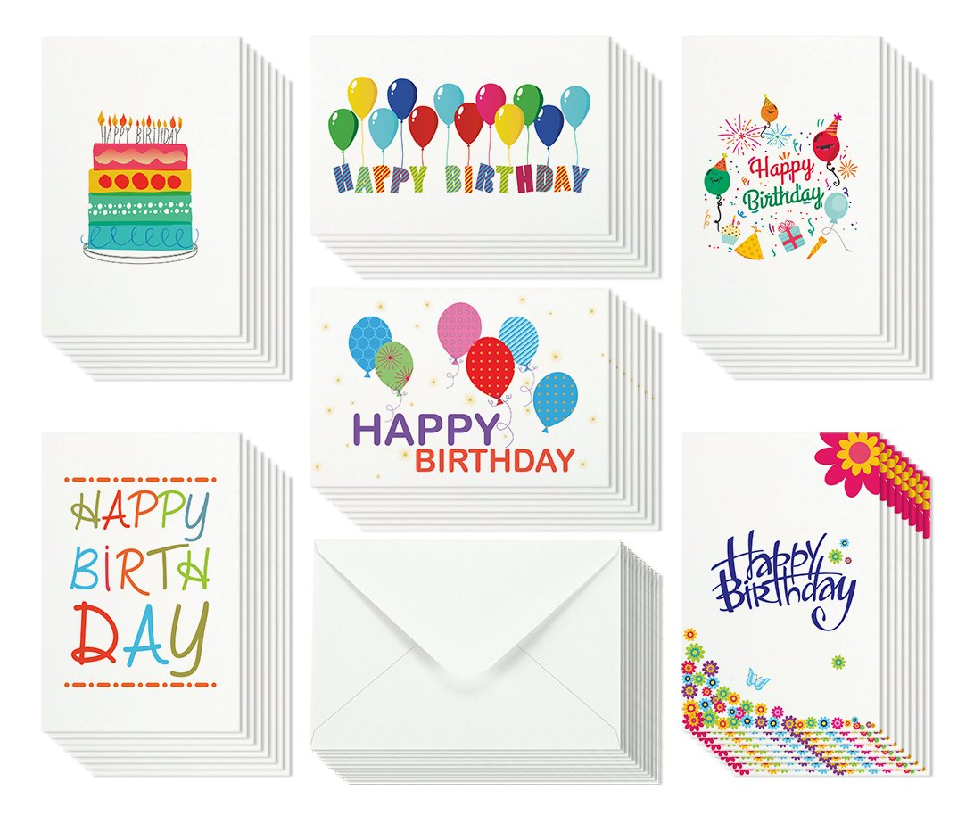 48 Happy Birthday Cards Bulk Assortment 6 Unique Designs With Blank Inside 4 X
