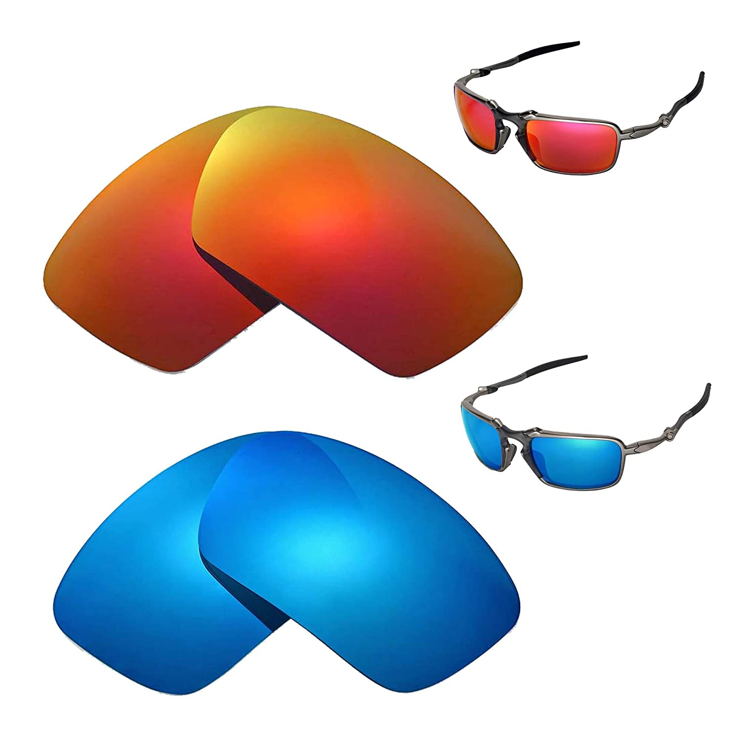 3a13e9e510 Amazon.com  Walleva Polarized Fire Red + Ice Blue Replacement Lenses Oakley  Badman Sunglasses  Sports   Outdoors
