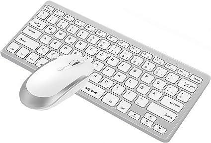 Jelly Comb [2.4G] Inalámbrico, ultradelgado y mini teclado y mouse con diseño alemán QWERTZ para MacBook, PC, portátil y Smart TV [Blanco y plateado]: Amazon.es: Informática