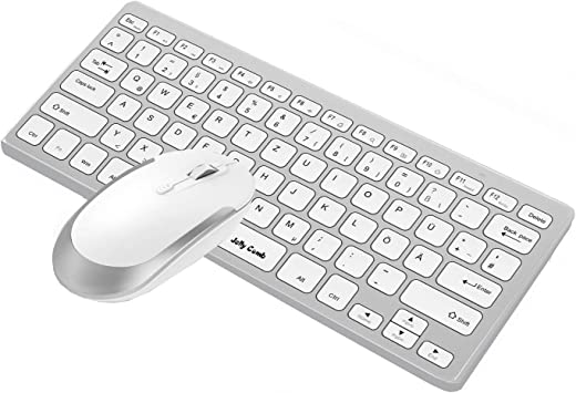 Jelly Comb [2.4G] Inalámbrico, ultradelgado y mini teclado y mouse con diseño alemán QWERTZ para MacBook, PC, portátil y Smart TV [Blanco y plateado]: Amazon.es: Informática