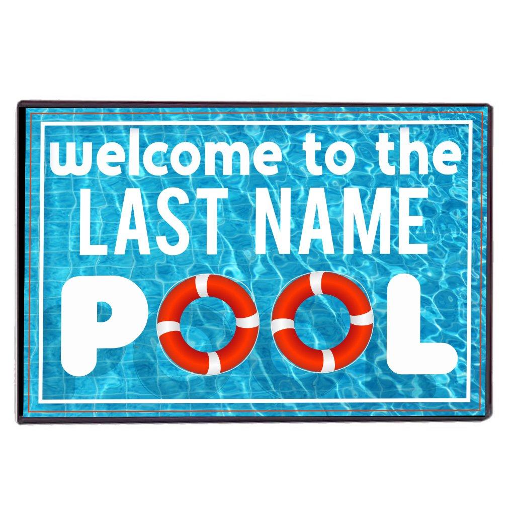 VictoryStore Home Accessories: Custom Swimming Pool Door Mat - Welcome to The Pool Door mats - Custom Last Name Floor Mat 24x36 inches