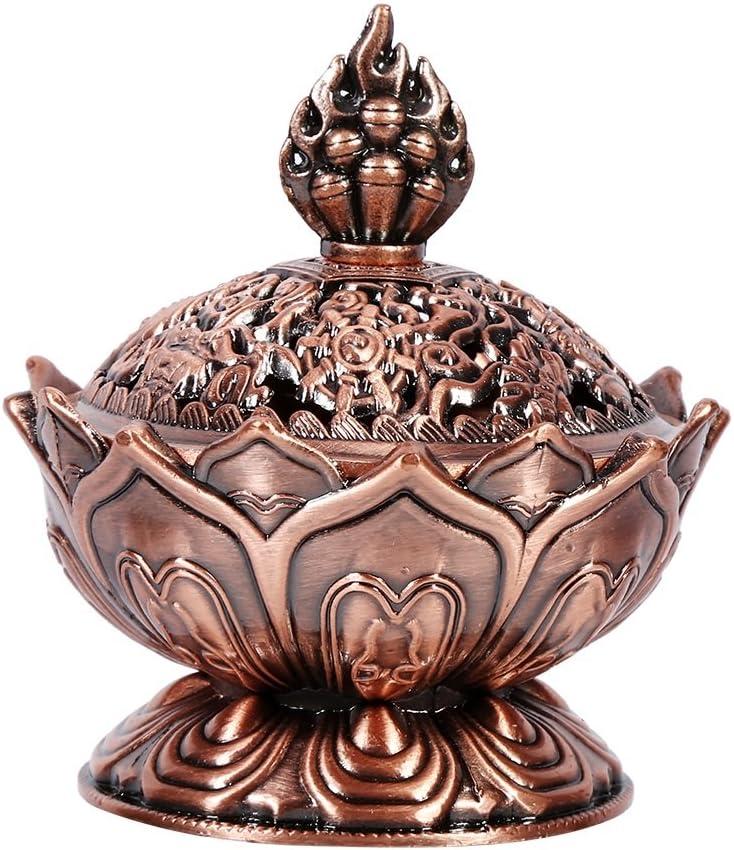 Quemador de Incienso de cerámica China y decoración de Porcelana Carbón de Incienso Titular, Bronce/Rojo de Bronce (Color : Red Bronze)