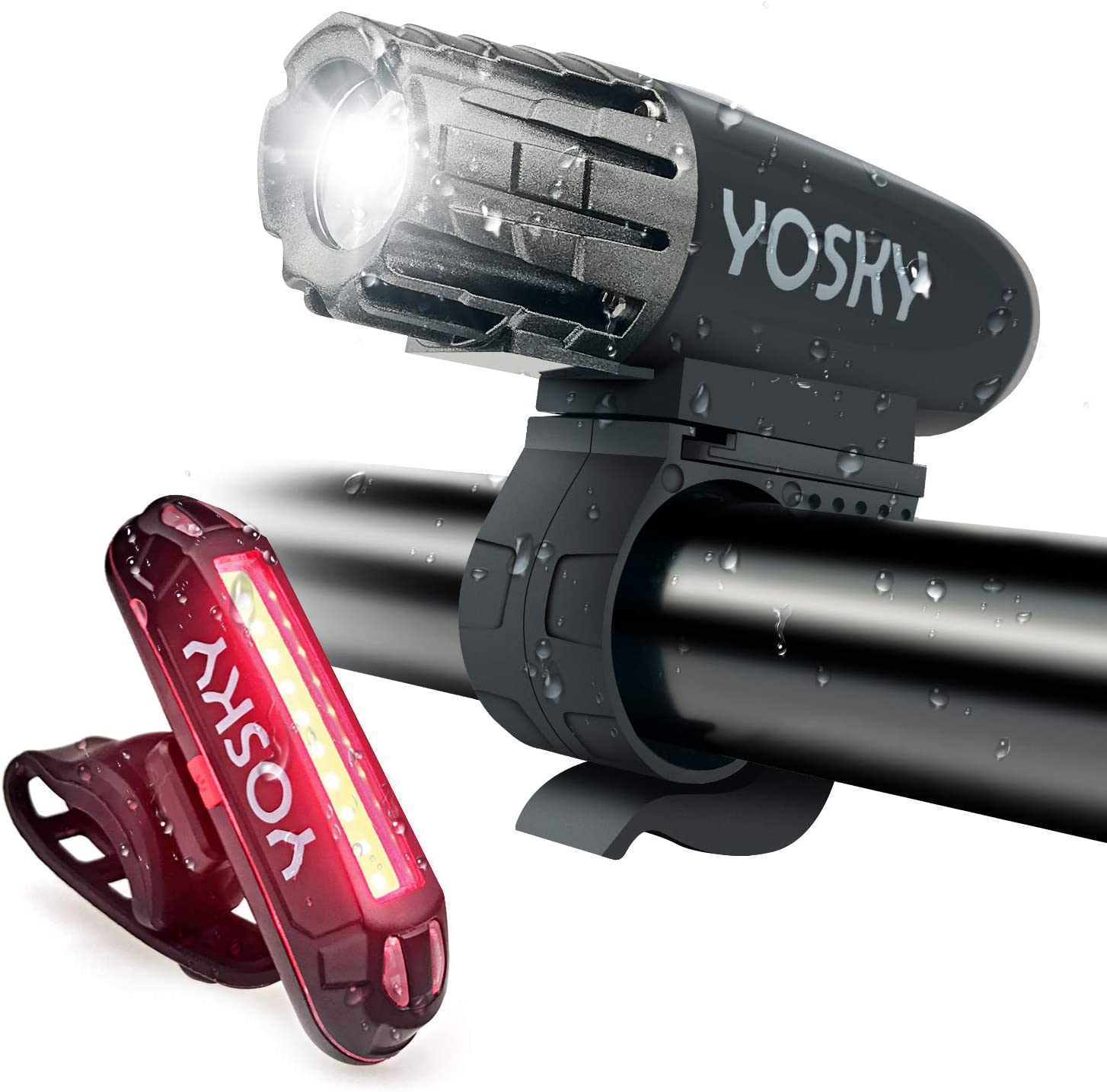 Powerful LED Bike Head Light Front and Rear Lights USB Rechargeable Bike Light