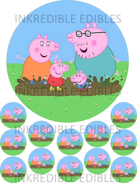 Peppa Pig Printed Cupcake decoración para tarta para ...