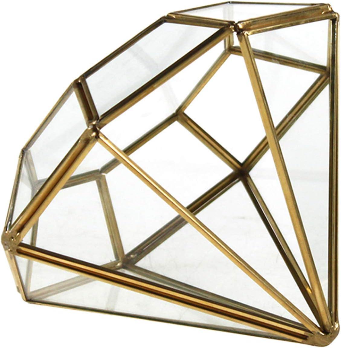 "WGV Geometric Planter Terrarium, Width 5.3"" Height 6"" Clear Glass Gold Frame DIY Succulent air Plant Miniature Fairy Garden Windowsill Tabletop Decor, Diamond 1 Piece"