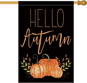AVOIN Hello Autumn Pumpkins House Flag Vertical Double Sided, Seasonal Fall Harvest Vintage Thanksgiving Rustic Burlap Yard Outdoor Decoration 28 x 40 Inch