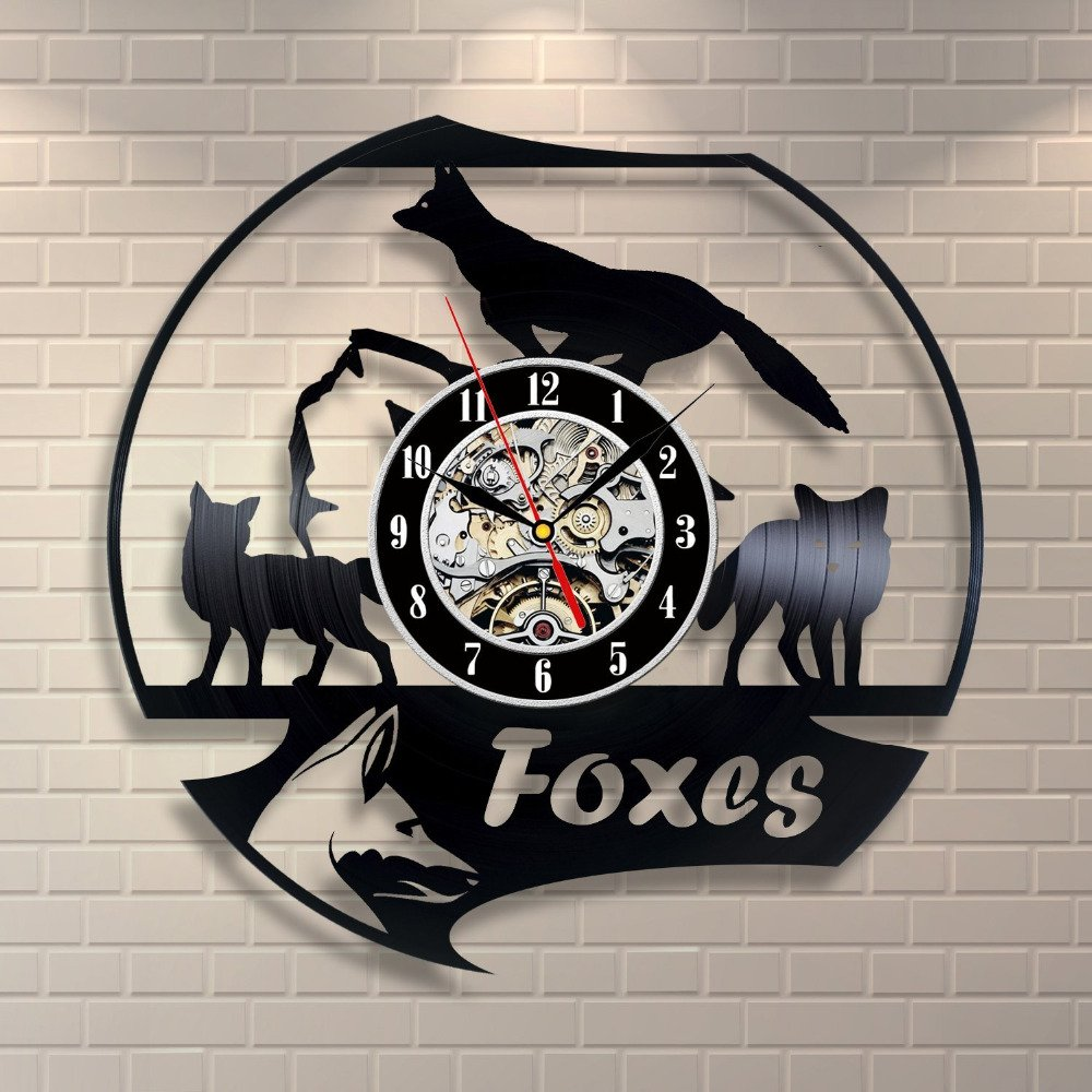 Animals Star War Vinyl Record Designed Wall Clock, Unique Home Room Wall Decor, Best gift for Him or Her, Girlfriend or Boyfriend (Foxes)