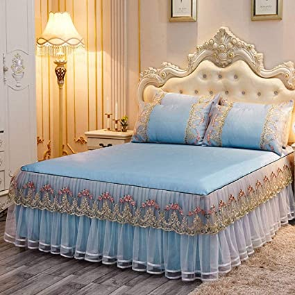 QUNCUNG Encaje Fresco Falda de Cama,Bedding Ruffled Bedskirt ...