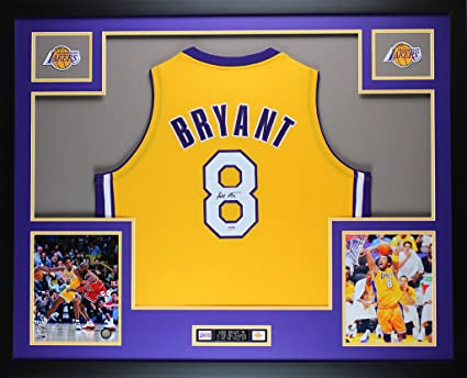 a64929eb91a Kobe Bryant Autographed Gold Lakers Jersey - Beautifully Matted and Framed  - Hand Signed By Kobe