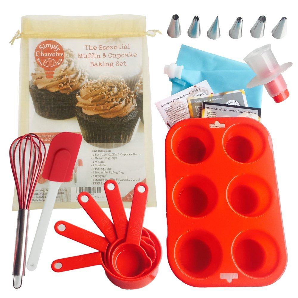 Complete Cupcake & Muffin Essential Silicone Baking & Decorating Set Tools in Red with Recipe Cards for Adults and Children - Great for Kids or Beginner Home Bakers - 17 Pieces Simply Charative
