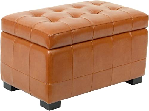 Safavieh Hudson Collection Nolita Leather Small Storage Bench, Saddle