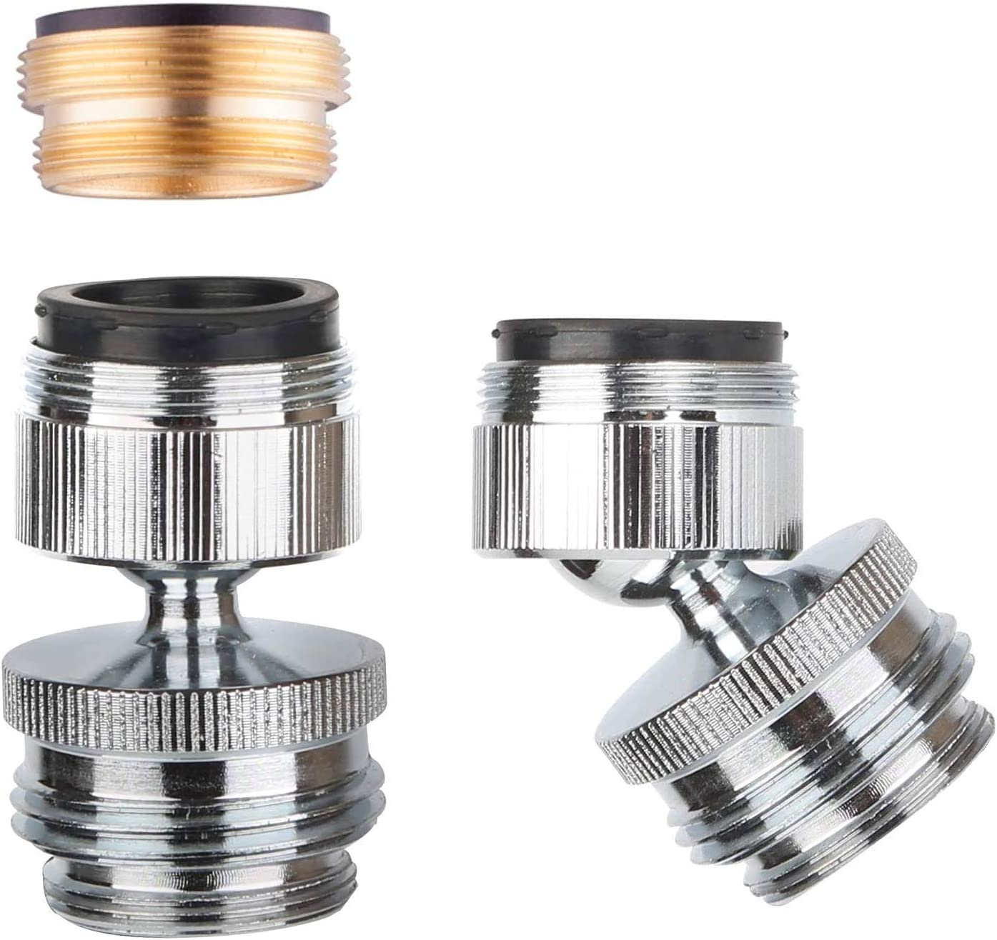 Faucet Adapter, Swivel Aerator Adapter Kit, Sink Faucet to Hose Adapter, Sink to Garden Water Hose, Female to Male Aerator Adapter, Brass Chrome Finish